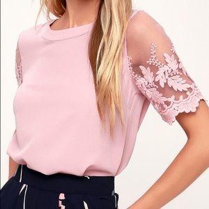 Lulu's Lisa Marie Mauve Pink Embroidered Top